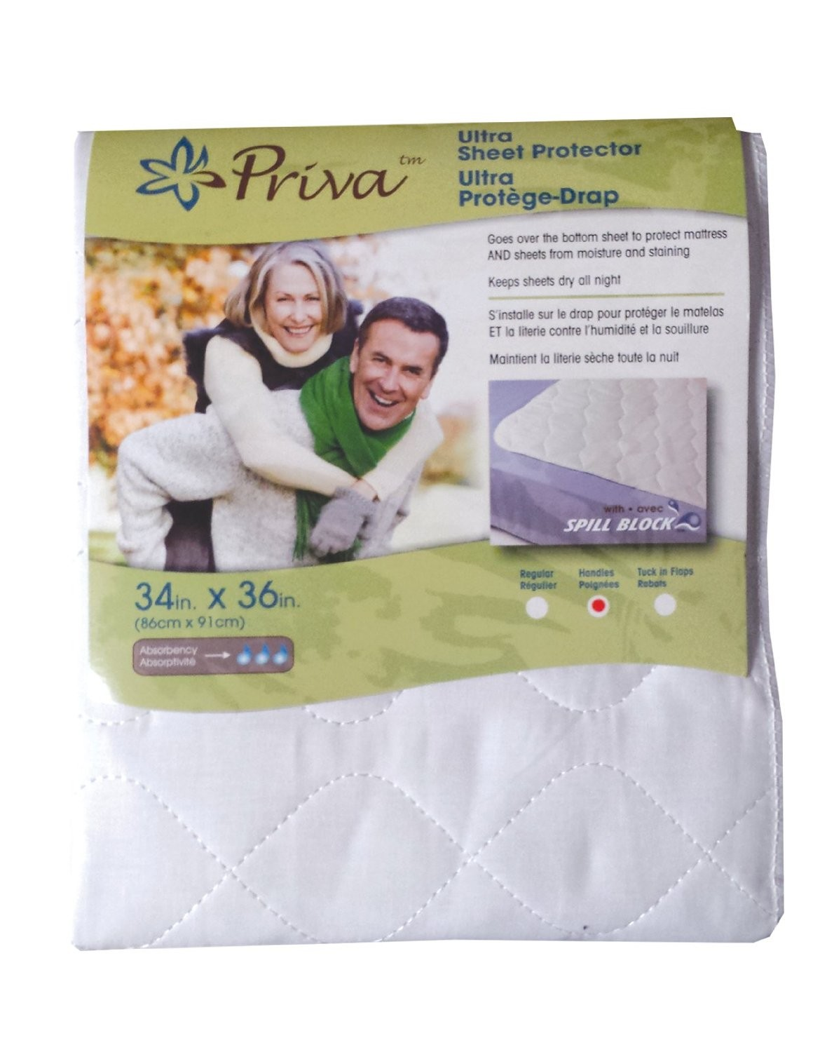 Ultra Waterproof Sheet Protector for Urinary Incontinence with Handles